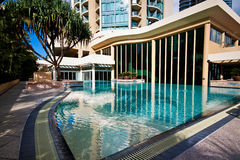 Hotel Pool. Tropical pool in a Gold Coast resort hotel Stock Photo