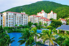 Hotel and pool. A hotel and swimming pool in sanya city,hainan,china Royalty Free Stock Photo
