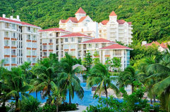 Hotel and pool. A hotel and swimming pool in sanya city,hainan,china Royalty Free Stock Image