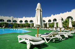 Hotel and pool. Egyptian hotel and swimming pool Royalty Free Stock Photo