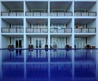 Hotel Pool Balcony. Hotel room balconies overlooking pool Royalty Free Stock Photo