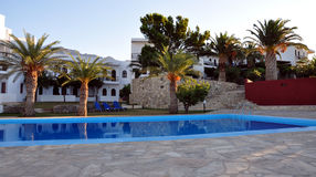 Hotel and pool on the island of Crete, Greece, Europe Stock Photos