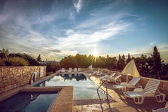 Hotel pool at Mediterranean coast. Pool at hotel resort in Croatia Stock Images