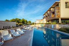 Hotel pool at Mediterranean coast. Pool at hotel resort in Croatia Stock Image