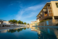 Hotel pool at Mediterranean coast. Pool at hotel resort in Croatia Royalty Free Stock Images