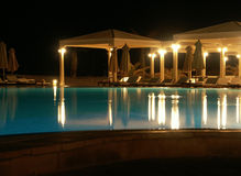 Hotel pool at night 2 Royalty Free Stock Image