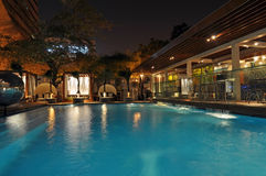 Hotel Pool at Night. Picture taken in New Delhi, India Stock Photos