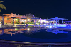 Hotel pool at night Royalty Free Stock Photo