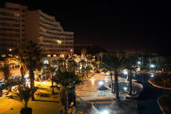 Hotel pool at night. In Sousse, Tunisia Stock Photography