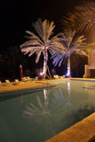 Hotel pool at night. In Sousse, Tunisia Royalty Free Stock Photo