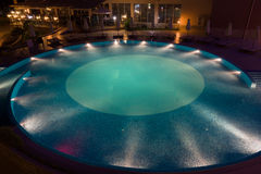 Hotel pool in night Royalty Free Stock Images