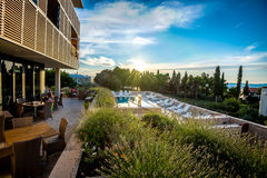 Hotel and pool. Outdoor of hotel lobby and pool at Adriatic sea Royalty Free Stock Photo