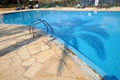 Hotel pool - palm shadow Royalty Free Stock Images
