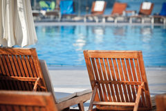 Hotel Poolside Chairs Royalty Free Stock Photography