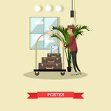 Hotel porter concept vector illustration in flat style. Stock Photos