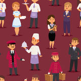 Hotel professions people workers happy receptionist standing at hotel counter and cute characters in uniform seamless. Pattern vector illustration Royalty Free Stock Images