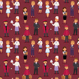 Hotel professions people workers happy receptionist standing at hotel counter and cute characters in uniform seamless. Pattern vector illustration Royalty Free Stock Image