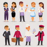 Hotel professions people workers receptionist standing at hotel counter characters in uniform vector illustration. Hotel professions people workers happy Stock Photos