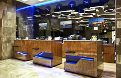 Hotel reception. Modern and design reception in a luxury hotel royalty free stock images