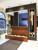 Hotel reception. Modern and design reception in a luxury hotel stock image