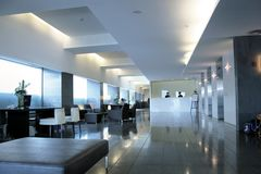 Hotel reception. Modern and design reception in a new hotel stock photography