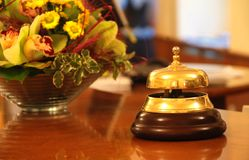 Hotel reception bell. Service bell at an hotel reception Stock Photo