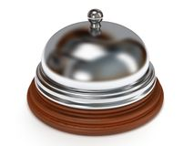 Hotel reception bell. 3d render. Hotel reception bell with metal body on wooden base. 3d render. Vacation, travel, service concept Royalty Free Stock Photo