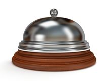 Hotel reception bell. 3d render. Hotel reception bell with metal body on wooden base. 3d render. Vacation, travel, service concept Royalty Free Stock Photography