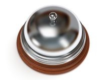 Hotel reception bell. 3d render. Hotel reception bell with metal body on wooden base. 3d render. Vacation, travel, service concept Stock Images