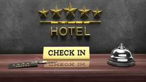 Hotel reception bell and and key Royalty Free Stock Image