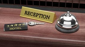 Hotel reception bell and and key Royalty Free Stock Photography
