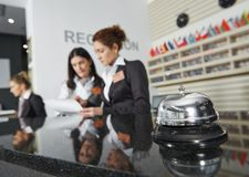Hotel reception with bell. Modern luxury hotel reception counter desk with bell stock image