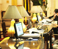 Hotel reception desk stock image