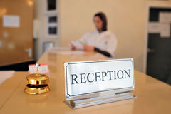 Hotel reception desk. With bell Stock Photos