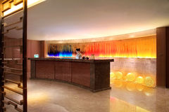 The hotel reception desk. The hotel building interior design,The indoor environment,Interior design,Business hotel,Business travel, royalty free stock image