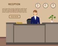 Hotel reception desk business office concept. reception service. Flat vector illustration stock illustration