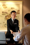 The hotel reception desk. The hotel front desk,China hotel service,service,ask,The hotel housing,The hotel lobby stock image