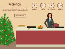Hotel reception desk with standing employee and christmas design. Xmas holiday reception service. Royalty Free Stock Images