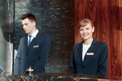 Hotel reception desk at work Royalty Free Stock Image