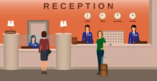 Hotel reception interior with employee and guests. Concierge desk and cashbox. Resort welcoming concept. Royalty Free Stock Photography