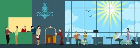 Hotel Reception Interior Scene royalty free illustration