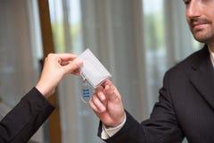 Hotel reception key check-in Stock Photo