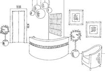 Hotel reception lobby interior graphic black white sketch illustration Stock Images