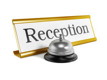 Hotel reception placard and service bell Royalty Free Stock Photography