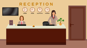 Hotel reception service. Business office desk concept. Two women receptionists. Royalty Free Stock Photos