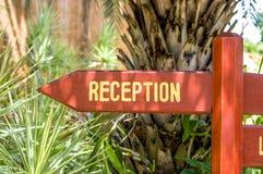 Hotel reception sign Stock Photos