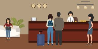 Hotel reception. Travel, hospitality, hotel booking concept. Hotel reception. Young woman receptionist stands at reception desk. There are also visitors here stock illustration