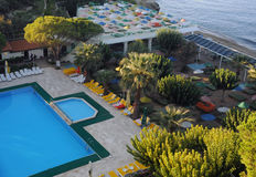 Hotel Recreation Area. Recreation area of the hotel on the Aegean sea coast n Turkey Stock Photography