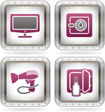 Hotel Related Icons. Various camping icons: Large Screen LCD, Room Safe, Hairdryer, Mini-bar (part of the 2 Colors Chrome Icons Set Stock Image