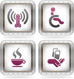Hotel Related Icons. Various camping icons: Wireless LAN with Internet access, Wheelchair Friendly Rooms, Cafe/Bistro, Mobile Phone Reception (part of the 2 Stock Images